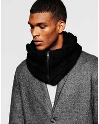 ASOS - Cable Snood In Black With Zip for Men - Lyst