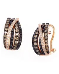 Effy - Black Confetti 14 Kt Rose Gold With 0.93 Ct T W Brown And White Diamond Earrings - Lyst