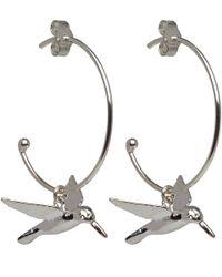Alex Monroe - Metallic Silver Hummingbird Hoop Earrings - Lyst