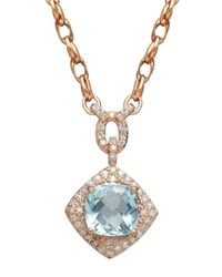 Lord & Taylor | Blue 14k Rose Gold Aqua And Diamond Necklace | Lyst