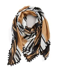 Tory Burch - Black Half Circle Logo Square Scarf - Lyst