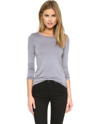 Three Dots - Blue Open Crew Neck Top - Rich Silver - Lyst