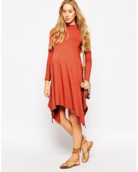 ASOS | Orange Maternity Swing Dress With Hanky Hem | Lyst