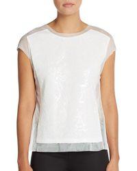 BCBGMAXAZRIA | White Obree Sequin-paneled Blouse | Lyst