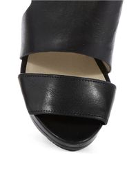 MICHAEL Michael Kors | Black Carla Leather Platform Sandal Heels | Lyst