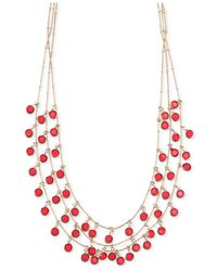 Anne Klein | Red Gold-Tone Siam Three Row Shaky Necklace | Lyst