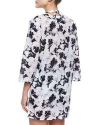 Carolina Herrera - White Split-neck Pansy-print Tunic Coverup - Lyst