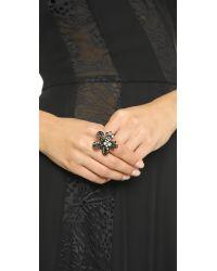 Oscar de la Renta | Floral Baguette Ring - Black Diamond/black | Lyst