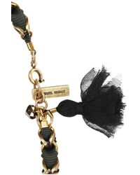 Isabel Marant - Metallic Gold Tone Crystal and Grosgrain Bracelet - Lyst