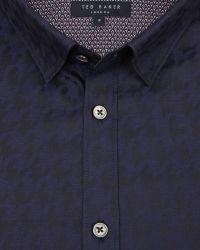 Ted Baker - Blue Dogtooth Print Shirt for Men - Lyst
