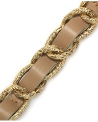 House of Harlow 1960 - Metallic Gold-tone Khaki Leather Link Bracelet - Lyst