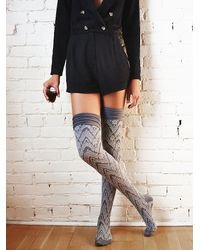 Free People - Blue Womens Dupont Patterned Over The Knee Sock - Lyst