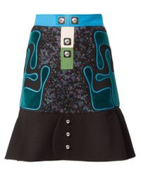 Peter Pilotto | Black Embroidered A-line Skirt | Lyst