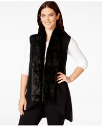 Calvin Klein | Black Plus Size Faux-fur-trimmed Sweater Vest | Lyst