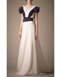 Carolina Herrera | Black Silk Crepe Gown with V-Neck | Lyst