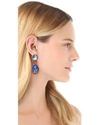 Oscar de la Renta | Blue Large Crystal Clip On Earrings | Lyst