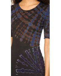 Raquel Allegra | Short Sleeve Fitted Dress - Black & Blues Tie Dye | Lyst