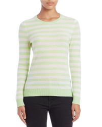 Lord & Taylor - Green Striped Cashmere Sweater - Lyst