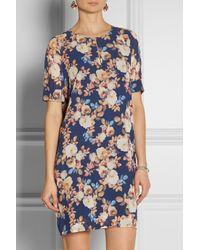 J.Crew   Blue Floral-Print Silk-Chiffon Dress   Lyst