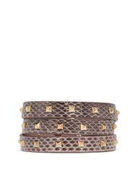 Valentino | Pink 'rockstud' Mini Triple Wrap Snakeskin Bracelet | Lyst