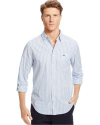 Lacoste - Gray Classic Fit Poplin Stripe Sportshirt for Men - Lyst