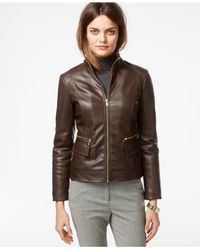 Cole Haan | Brown Leather Flap-pocket Jacket | Lyst