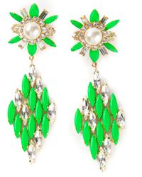 Shourouk | Green 'cobra' Earrings | Lyst