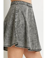 Forever 21 - Gray Acid Wash Denim Skirt - Lyst