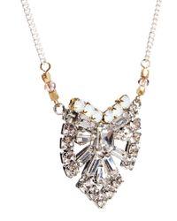 Orelia - Metallic Diamante Long Necklace - Lyst