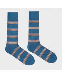 Paul Smith   Men's Petrol Blue Multi-stripe Block Socks for Men   Lyst