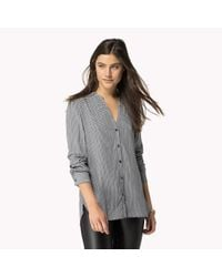 Tommy Hilfiger | Gray Cotton Viscose Collarless Shirt | Lyst