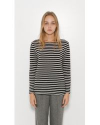 R13 - Black Striped Boat Neck Tee - Lyst