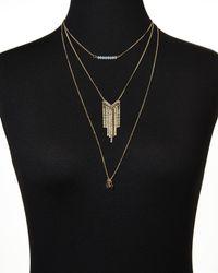 Cara - Metallic Gold-Tone Three-Tier Necklace - Lyst
