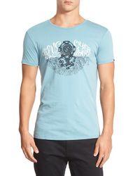 Scotch & Soda - Blue 'Explorer' Graphic T-Shirt for Men - Lyst