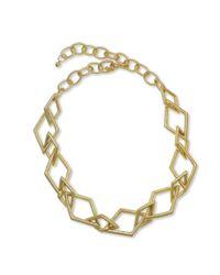 Kenneth Jay Lane | Metallic Satin Gold Link Necklace | Lyst