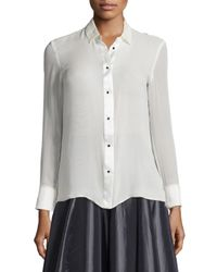 Halston | White Long-sleeve Button-front Top | Lyst