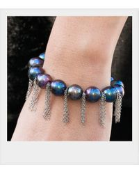 Anne Sisteron - Metallic Peacock Pearl Bracelet With Sterling Silver Fringe Chain - Lyst