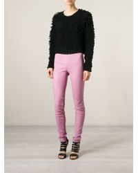 Helmut Lang - Pink Leather Leggings - Lyst