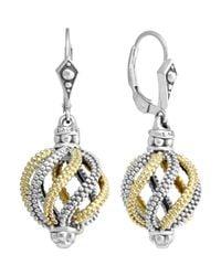 Lagos | Metallic Silver 18k Gold Soiree Circular Swirl Drop Earrings | Lyst