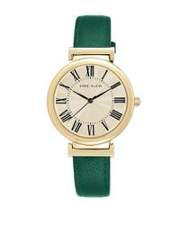 Anne Klein - Goldtone Green Leather Strap Watch - Lyst