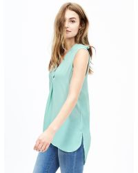Banana Republic | Blue Notched Sleeveless Popover Blouse | Lyst