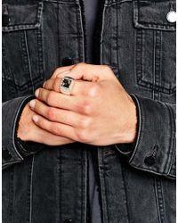 ASOS - Metallic Signet Ring With Semi Precious Stone for Men - Lyst