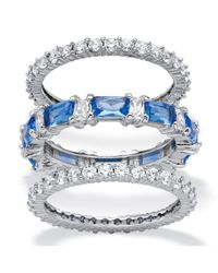 Palmbeach Jewelry - Metallic 3.24 Tcw Cubic Zirconia And Blue Emerald-cut Crystal 3-piece Eternity Ring Set Platinum-plated - Lyst