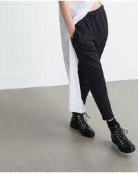 Zara | Black Plush Trousers | Lyst
