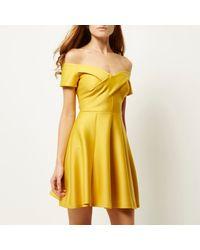 River Island - Yellow Scuba Bardot Skater Dress - Lyst