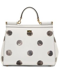 Dolce & Gabbana - White Leather Polka Dot Miss Sicily Medium Bag - Lyst