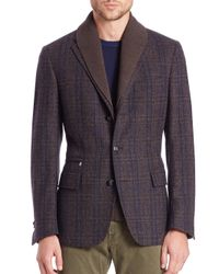 Corneliani - Brown Multicheck Id Jacket for Men - Lyst