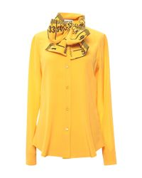 Moschino | Yellow Measuring Tape Blouse With Bow | Lyst