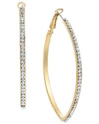 INC International Concepts | Metallic Gold-tone Pavé Pointed Hoop Earrings | Lyst