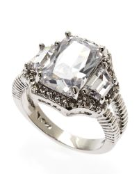 CZ by Kenneth Jay Lane | Metallic Rhodium-Plated Ring | Lyst